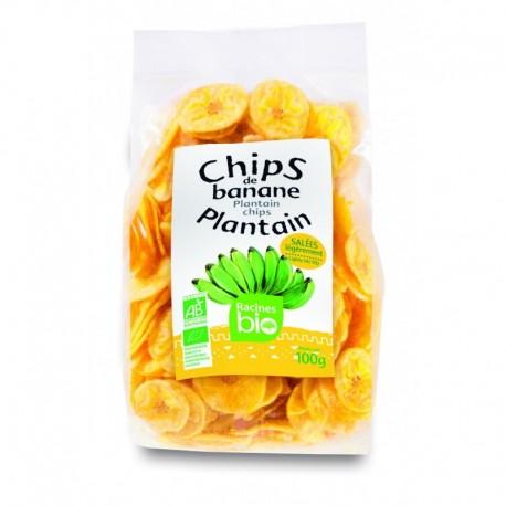 Chips de banane plantain BIO salées SALÉES 100GR