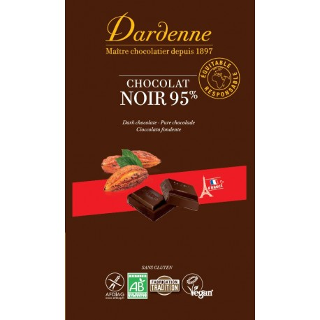 Tablette chocolat noir 95% 90gr- Dardenne