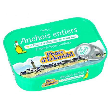 Anchois entier à l'huile olive vierge extra bio 115gr Phare d'Eckmühl