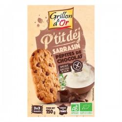 Biscuits petit-déjeuner Sarrasin Pépites de chocolat bio - 150 g Grillon d'or