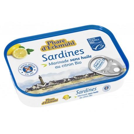 SARDINES MARINEES SANS HUILE AU CITRON BIO