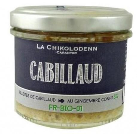 Rillettes de Cabillaud au gingembre confit  La Chikolodenn 90g