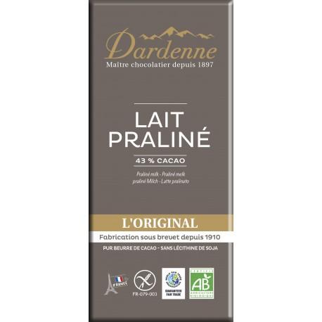 Tablette chocolat lait praliné 100g
