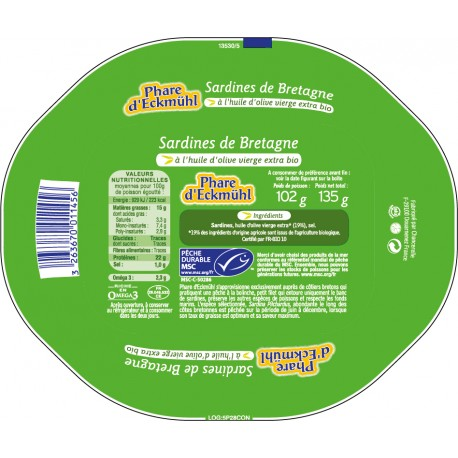 Sardines à l'huile olive 135g MSC