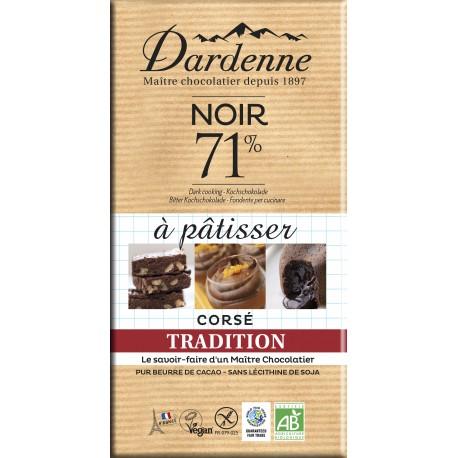 Tablette chocolat noir à patisser 71% Dardenne