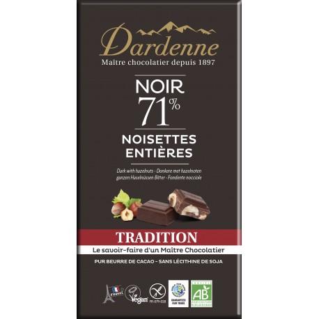 Tablette chocolat noir noisettes 71% Dardenne 180g