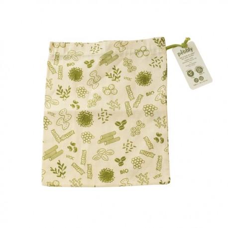 Sac à vrac en coton bio Vert taille L 25x30 cm