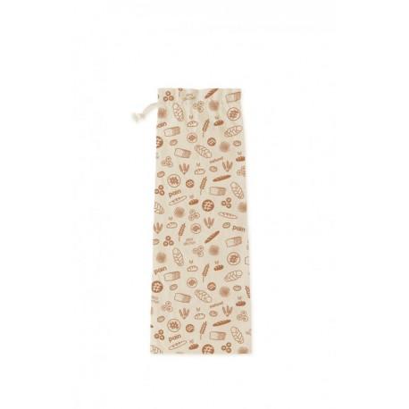 Sac à pain en coton bio Brun 60x20 cm