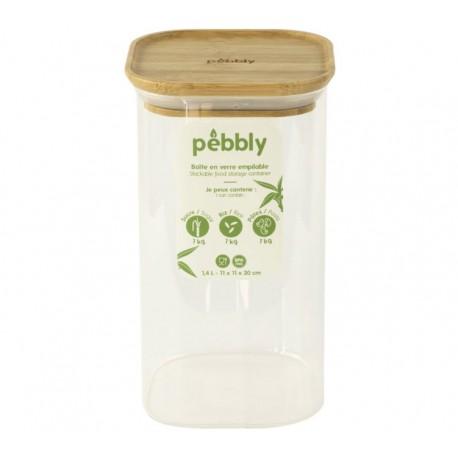 Boîte en verre carrée avec couvercle en bambou 1.4 L