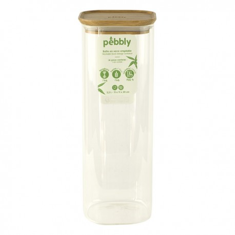 Boîte en verre carrée avec couvercle en bambou 2.2 L