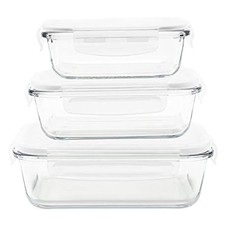 Set de 3 plats/boîtes rectangulaire en verre borosilicate