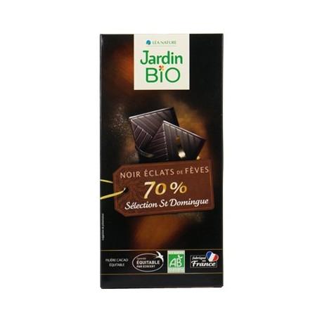Chocolat tablette noir aux éclats de fèves bio 100g